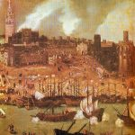 A shipyard on the river Guadalquivir in 16th century Seville: detail from a townscape by Alonso Sánchez Coello