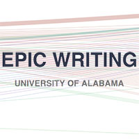 "a multicolor background that says ""epic writing University of Alabama"" in front of it"