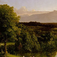 a painting of a landscape, including trees and hills