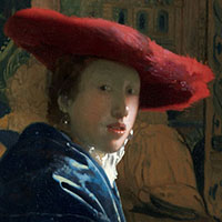 a girl in a large red hat. A painting by Johannes Vermeer