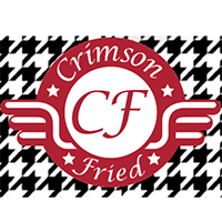 "Houndstooth pattern with the words ""Crimson Fried"" overplayed"