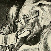 An image of an elephant wearing glasses and holding a squirrel in a box