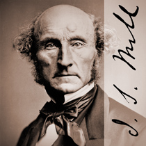 John Stuart Mill with the signature of John Stuart Mill overplayed on the right