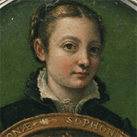 Sofonisba Anguissola's self portrait. An image of a young woman holding a giant coin