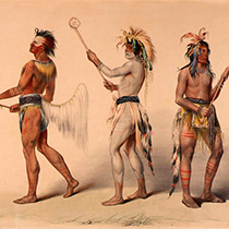 An image of indigenous people playing lacrosse
